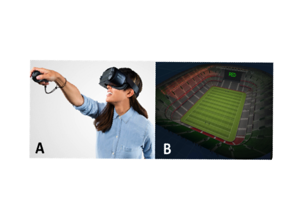 VR set user and virtual football field images